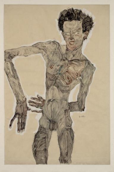 Эгон Шиле. «Автопортрет в обнаженном виде, гримаса», 1910