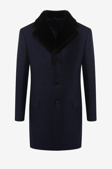 Пальто из шерсти со съемным воротником из меха бобра