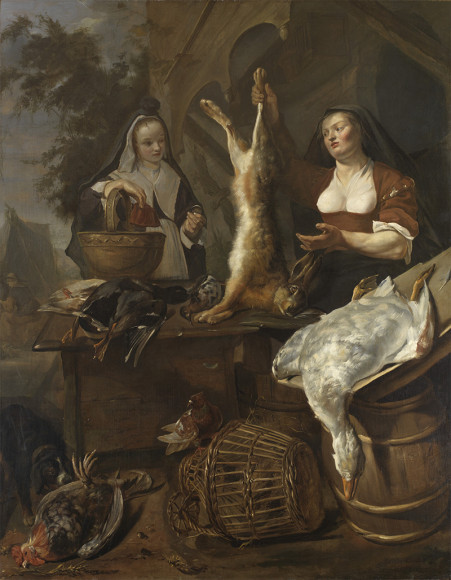 Габриель Метсю. «Женщина, торгующая битой дичью в ларьке»