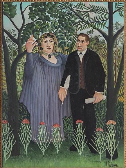Анри Руссо, Муза, вдохновляющая поэта (Поэт и муза), портрет поэта Гийома Аполлинера и художницы Мари Лорансен,1909
