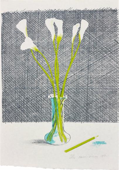Дэвид Хокни. Лилии, 1971 Эстимейт £8 000–12 000. Phillips, Аукцион тиражных работ, 7 июня 2017, Лондон