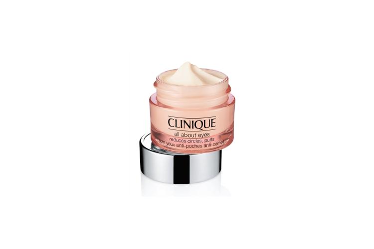 Крем-гель для ухода за кожей вокруг глаз All About Eyes, Clinique содержит кофеин, который восстанавливает и укрепляет способности кожи удерживать влагу; витамин В6 для ускорения процесса увлажнения за счет усиленной выработки керамида; сахарозу, которая успокаивает кожу, снимая раздражение и покраснение