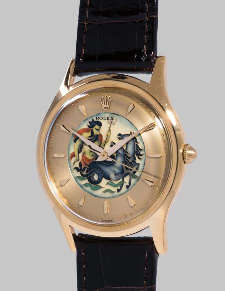 Rolex Ref. 8382 Neptune Редкие часы Rolex в желтом золоте с циферблатом, выполненным в технике перегородчатой эмали, один из двух референсов 8382 с эмалевым циферблатом с изображением Нептуна, рассекающего море. Оценочная стоимость: CHF 300–600 тыс.
