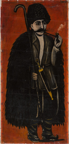 Нико Пиросмани. «Пастух в бурке (на красном фоне)»