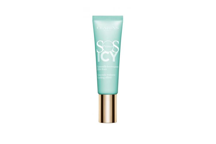Охлаждающая база под макияж SOS Primer Icy, Clarins (лимитированный выпуск) подойдет для кожи, склонной к покраснению. Формула содержит панкрацию морскую и эфирное масла мяты, которые подготавливают кожу к макияжу, увлажняя ее 24 часа, в свою очередь растительный комплекс Anti-Pollution защищает кожу от вредного воздействия загрязнений