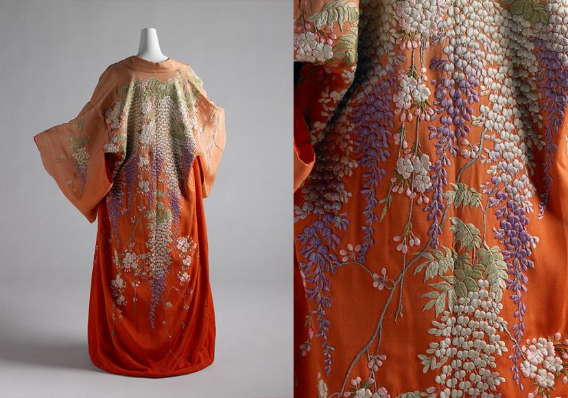Платье домашнее. Япония, 1900-е гг. Всемирная выставка в Париже 1900 года, в которой участвовали Индокитай и Сиам, стиль модерн, утвердившийся в эти годы, и даже русско-японская война 1904-1905 подхлестнули интерес к экзотике, в частности Китаю и Японии. Вместе с предметами мебели в Европу из Страны восходящего солнца привозили и вышитые шелковые кимоно, которые часто переделывали на модные платья или домашние халаты.