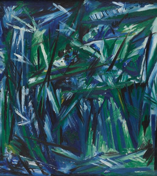 Наталья Гончарова «Лучизм, сине-зеленый лес», 1913