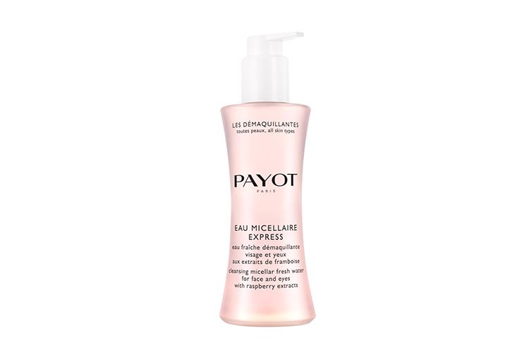 Очищающая вода для лица и глаз с экстрактом малины и гиалуроновой кислотой Eau Micellaire Express, Les Démaquillantes, Payot служит для быстрого удаления макияжа и придания свежести и комфорта кожи