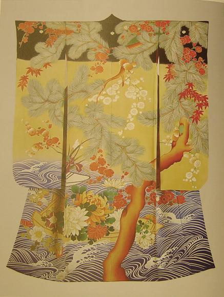 Кимоно для молодой женщины. Япония, 1910-1926 Шелковый креп, шелковые и металлические нити; ткачество, ручное крашение, вышивка