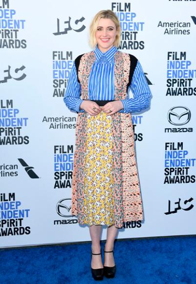 Грета Гервиг в платье Prada на церемонии Independent Spirit Awards