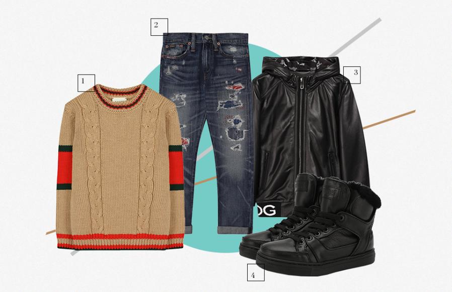 1. Свитер Gucci 2.Джинсы Polo Ralph Lauren 3.Куртка Dolce & Gabbana 4. Кеды Gallucci