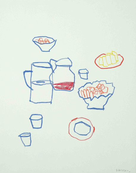 «Вишневый компот», 2020, холст, масляная пастель, 100х80 см, 47000 руб.