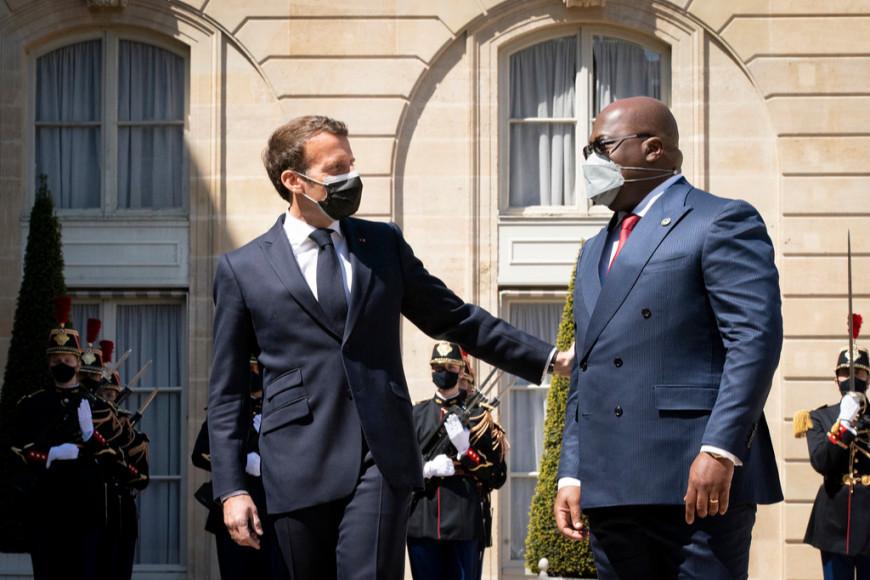 Эмманюэль Макрон на встрече сФеликсом Чисекеди,президентом Конго, 2021