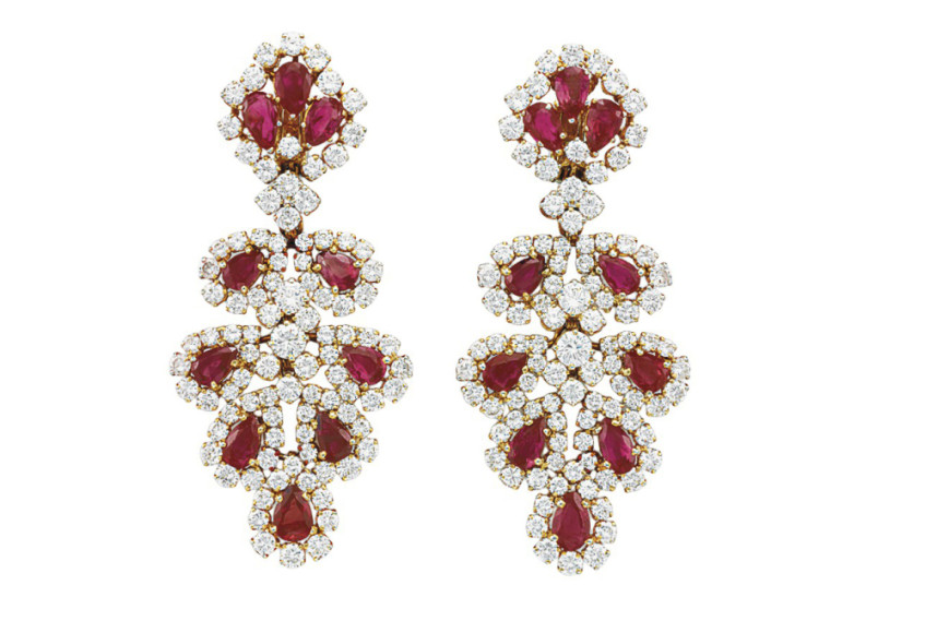 Серьги из рубинов и алмазов, David Webb