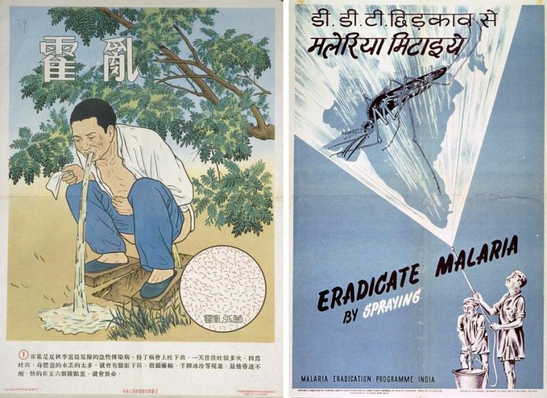 Слева: плакат для жителей сельских районов, пораженных холерой, Китай, 1955. Справа:«Уничтожиммалярию опрыскиванием», Индия, 1960-е