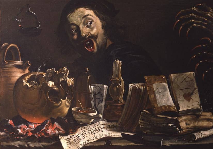 Питер ван Лар. «Автопортрет с атрибутами занятий магией»