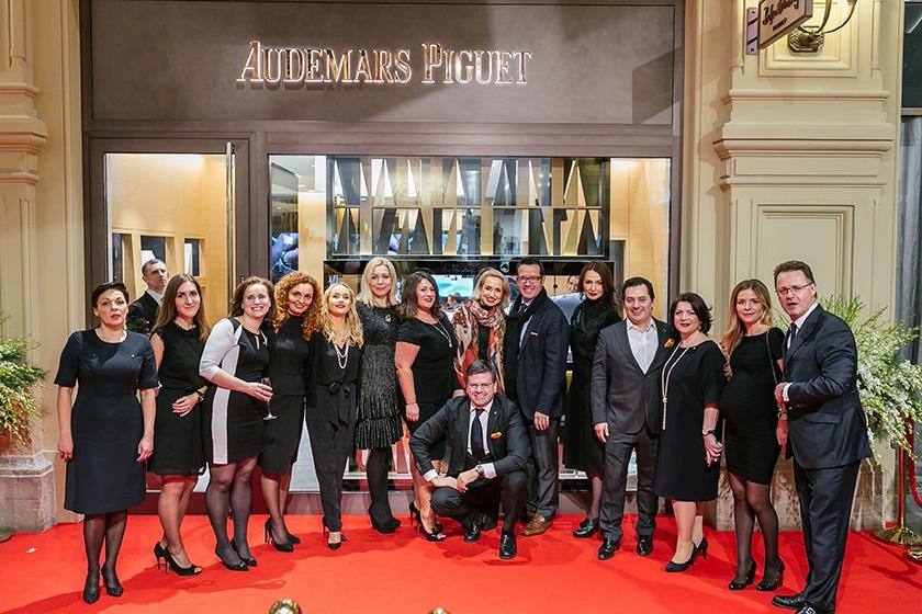 Гости на открытии бутика часового бренда Audemars Piguet на Красной площади