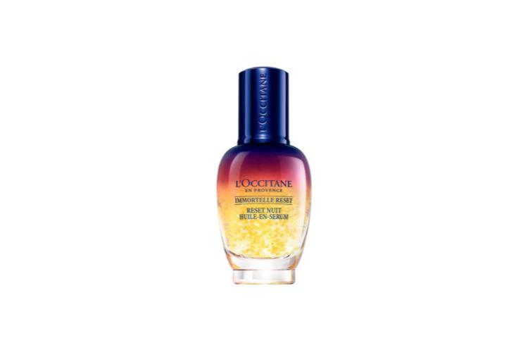 Ночной эликсир «Мгновенная перезагрузка кожи», L'Occitane включает в себя эфирное масло иммортеля, которое выступаетантиоксидантом и борется с признаками старения, экстракт акмеллы для разглаживания морщин и экстракт майорана, который восстанавливает кожу