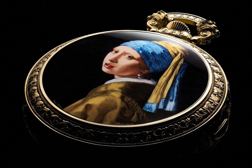 Крышка часов с эмалевой миниатюрой картины «Девушка с жемчужной сережкой»Яна Вермеера