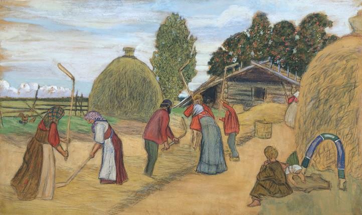 "Б.М. Кустодиев. ""Молотьба"", 1908"