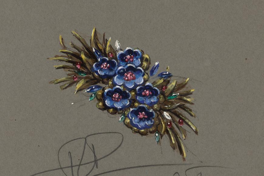 Эскиз броши Flower Bouquet, 1938 год