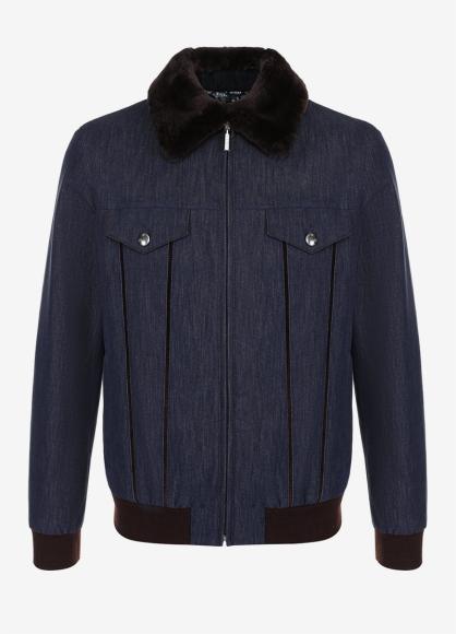 Пуховая куртка из денима с воротником из меха бобра