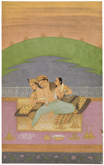 Уста Хасан аль-Дин Биканер (Usta Hasan al-Din Bikaner). «Emperor Jahangir with two women», 1680-90