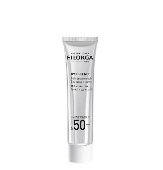 Солнцезащитный крем SPF 50+ UV-Defence, Filoga имеет высокую степень защиты от солнечных лучей, обладает омолаживающим действием и корректирует пигментные пятна благодаря солнцезащитным фильтрам в сочетании с антиоксидантом— витамином Е, а также экстрактам хмеля и бурой водоросли