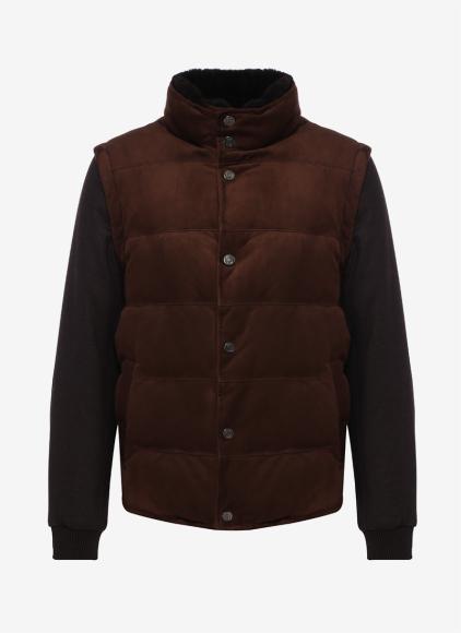 Пуховая куртка со съемными рукавами и отстегивающимся воротником из меха нутрии