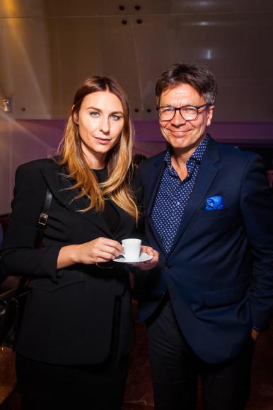 Главный редактор журнала Harper's Bazaar Дарья Веледеева и главный редактор журнала «Сноб» Сергей Николаевич
