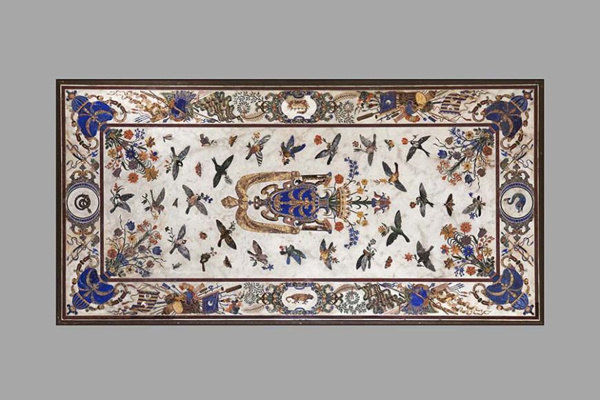 Стол Орсини, бронза, каррарскиймрамор, инкрустация камнями, 1659