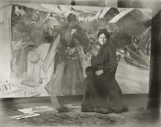 "Б.М.Кустодиев. ""Юлик у моей конкурсной картинки"", 1903"