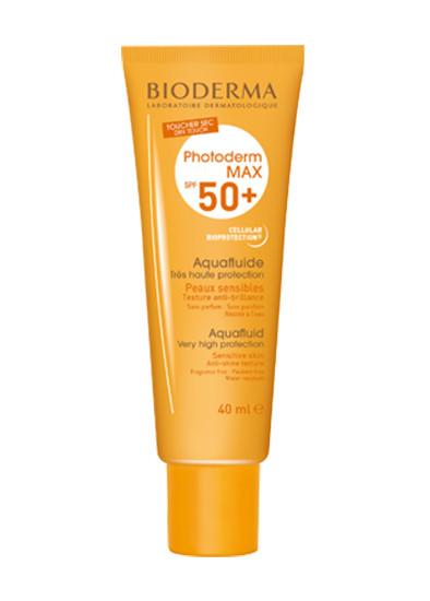 Водостойкий солнцезащитный флюид для чувствительной кожи Photoderm Max Aquafluid SPF 50, Bioderma