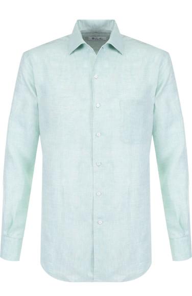 LORO PIANA Льняная рубашка с воротником кент