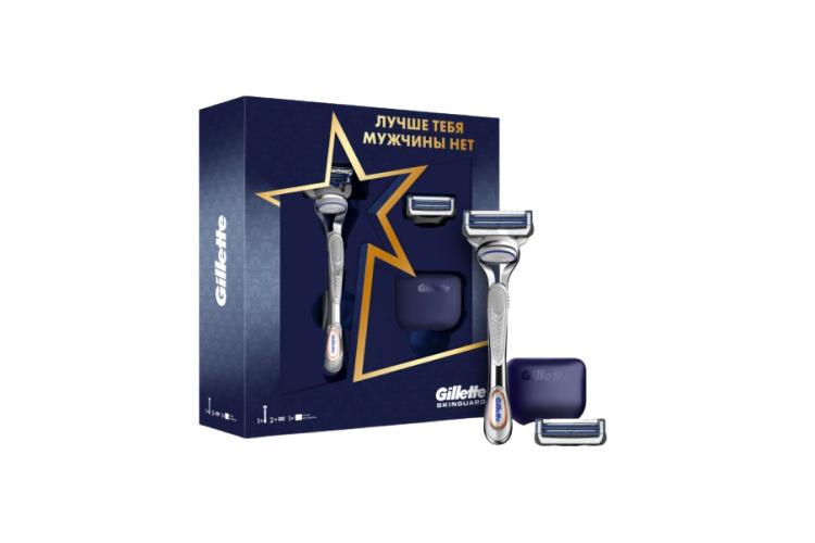 Набор из бритвы с двумя кассетами и чехла Skinguard, Gillette,1005 руб. (ozon.ru)