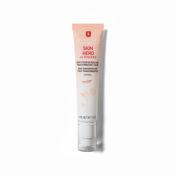 Крем для лица Skin Hero, Erborian увлажняет кожу и визуально улучшает ее качество сразу после нанесения за счет комплекса белого женьшеня, глицерина, гиалуроновой кислоты и отшелушивающих энзимов в составе