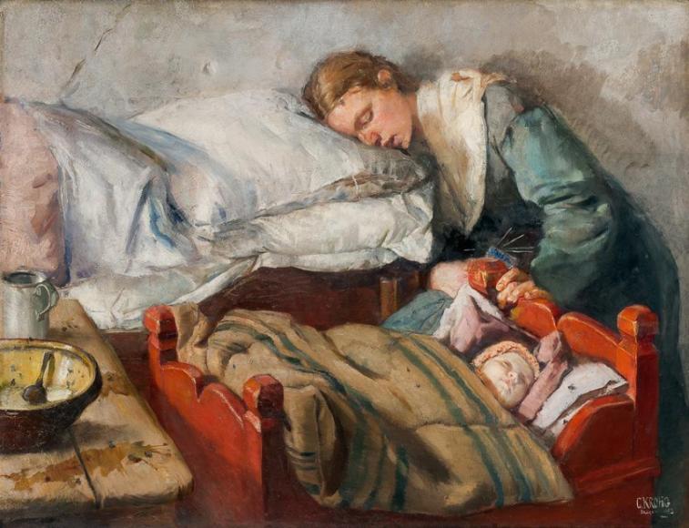 Кристиан Крог. Sovende mor, 1883