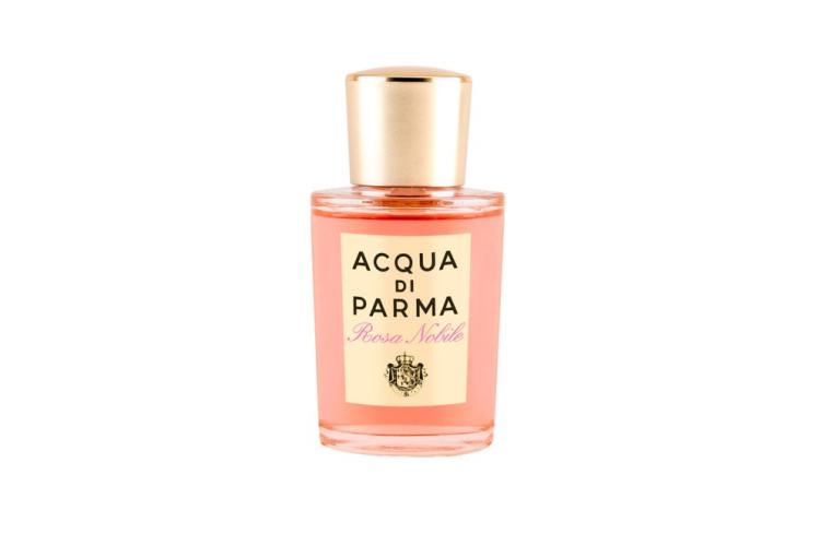Парфюмерная вода для женщин Rosa Nobile, Acqua di Parma в дорожном формате звучит нотами сицилийского мандарина и бергамота Калабрии, перцем, пионом, фиалкой, одуванчиком, а также розой центифолия