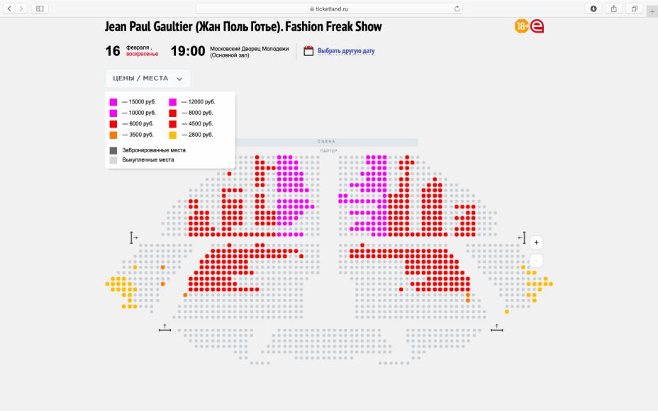 Статистика продажи билетов на Fashion Freak Show в Москве, скриншот от 13 февраля