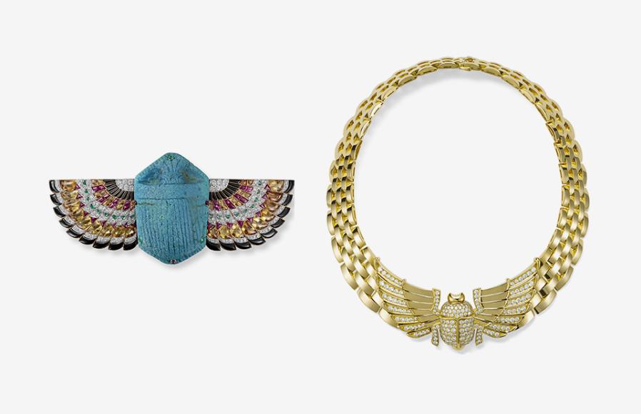 Брошь в виде скарабея, Cartier London, 1925; ожерелье, Cartier Paris, 1990