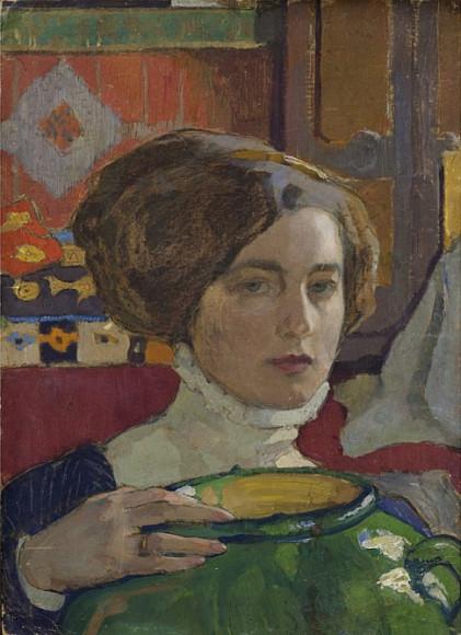 Елена Киселева. «Автопортрет с зелёной вазой», 1910