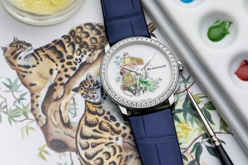 Часы Metiers d'Art Formosa Clouded Leopard с технике эмалевой миниатюры по фарфору, Blancpain