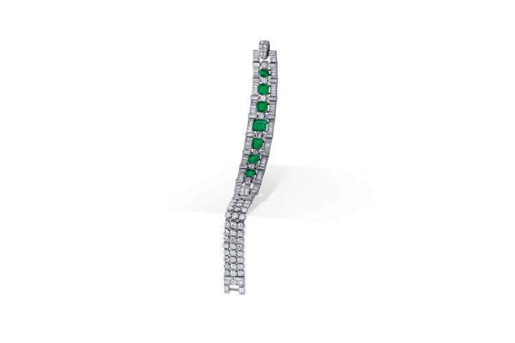 Браслет с бриллиантами и изумрудами, Cartier (сер. ХХ века)