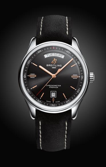 Часы Premier Automatic Day & Date 40с черным циферблатом и черным ремешком из кожи аллигатора