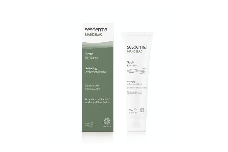 Скраб для лица и тела с миндальной кислотой Mandelac, Sesderma подойдет для чувствительной и сухой кожи. В составе миндальная кислота, растительные экстракты и полиэтиленовые микрогранулы