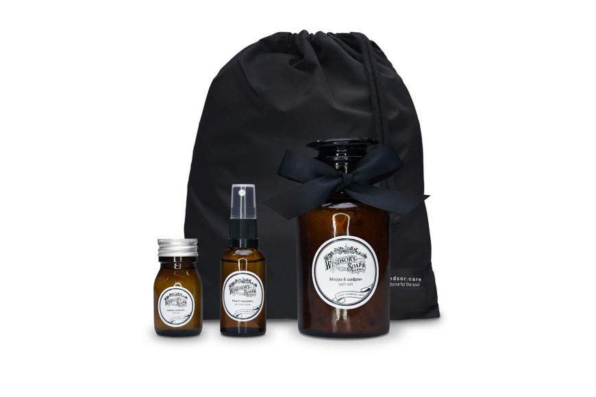 Набор Warm, парфюмерный спрей ром & кардамон, масло для ванной имбирь & ваниль, соль для ванной мирра & шафран, 3590 руб. Windsor's Soap