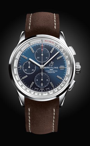 Часы Premier Chronograph 42с синим циферблатом и коричневым ремешком из нубука