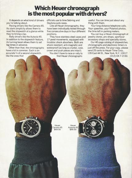 Реклама хронографов Heuer, 1968 год