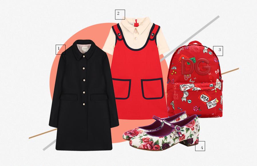 1. Пальто Gucci 2.Платье Gucci 3.Рюкзак Dolce & Gabbana 4.Туфли Dolce & Gabbana