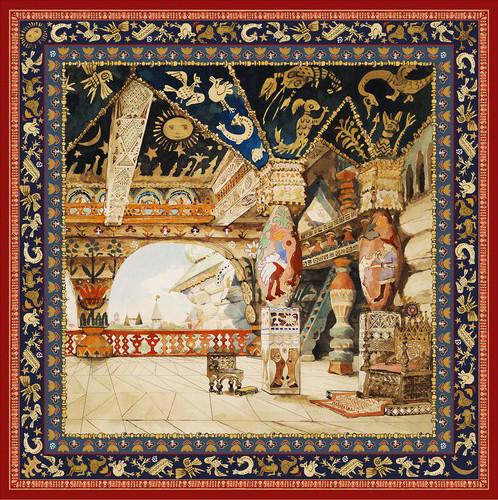 Платок с изображением «Палат царя Берендея», эскиза декорации Виктора Васнецова к опере Н.А. Римского-Корсакова «Снегурочка»